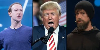 A side by side of Mark Zuckerberg, Donald Trump, and Jack Dorsey.