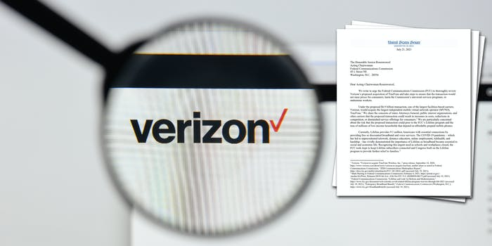 A magnifying glass over the Verizon logo. Next to it is a letter senators wrote to the FCC about Verizon's proposed acquisition of TracFone.