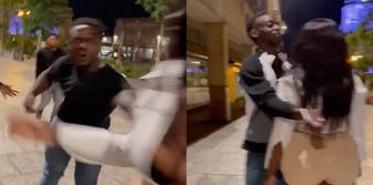 Two screenshot panel from a video of a man pushing a woman and her fighting back after two women rejected him