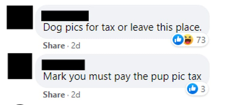 A series of redacted comments of people commenting on a post by Mark Zuckerberg in a dog specific Facebook group