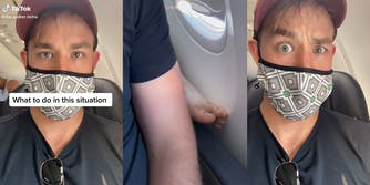 """man on airplane with caption """"what to do in this situation"""" (l) bare foot of passenger behind him placed on his armrest (c) man with dismayed look (r) viral tiktok video airline"""