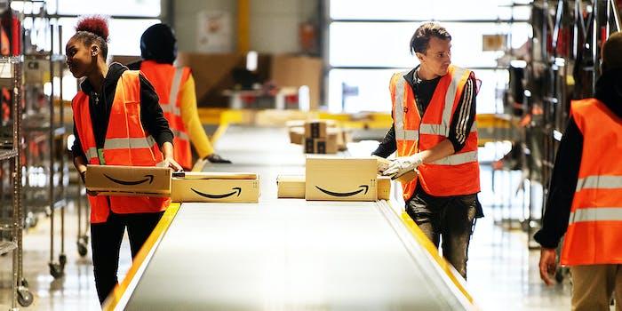 Amazon employees working.