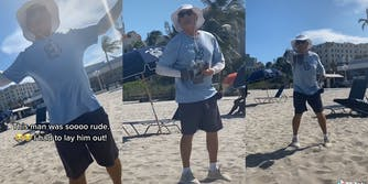 """Man in floppy hat waving arms at beach with caption """"This man was soooo rude. I had to lay him out!"""""""