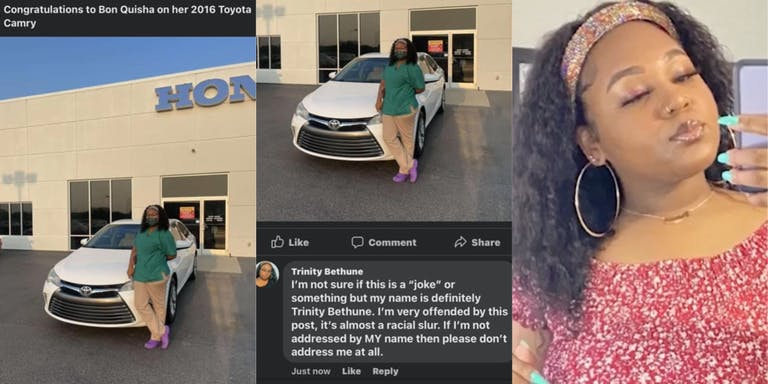 Car dealership calls Black woman 'Bon Quisha' on Facebook after she purchased her first car