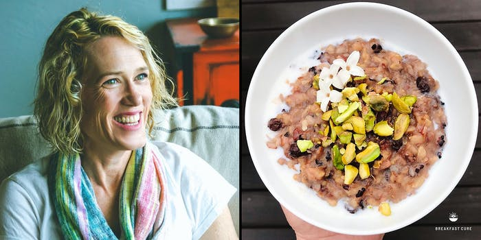 A woman (L) and a bowl of congee (R).
