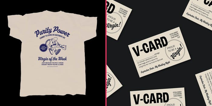A t-shirt (L) and postcards (R).