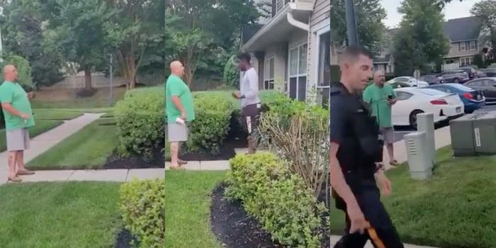 In a video, a white man is seen yelling racist slurs at his neighbors, who are Black,