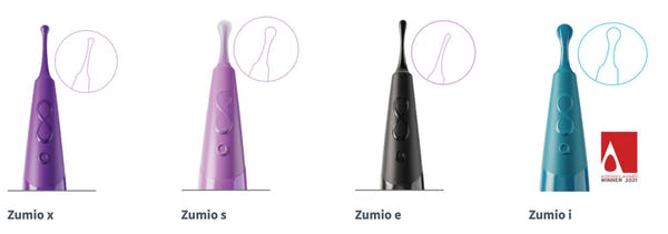 Zumio's line of clitoral stimulators is available in four slightly different versions and colors.