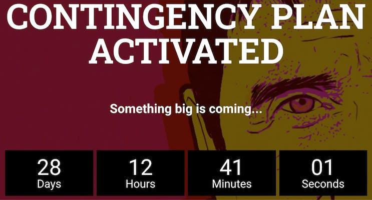 A countdown timer over John McAfee's face
