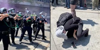 Cops with guns (L) and a woman falling to the ground (R).