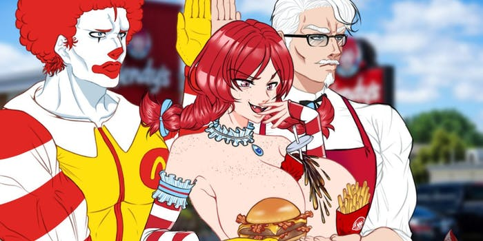 lewd anime of ronald mcdonald, wendy, and col. sanders