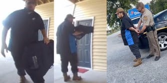 Domino's pizza delivery driver steals package after delivering pizza to neighbor and getting arrested