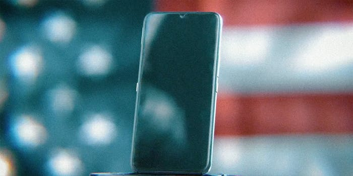 A phone and American flag.