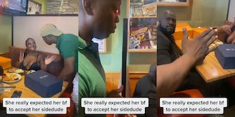 """smiling woman greets man (l) man shrugging (c) man at table looking over his shoulder, confused (r) all with caption """"She really expected her bf to accept her sidedude"""""""