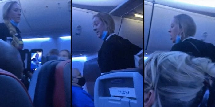 A woman yelling on a plane.