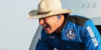 Jeff Bezos laughing.