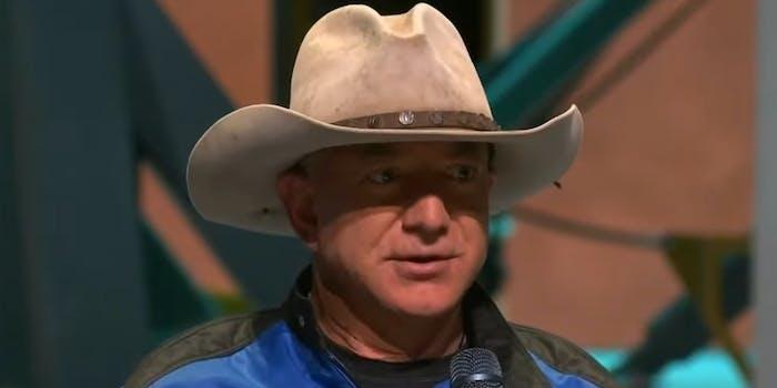 Jeff Bezos wearing a stetson hat