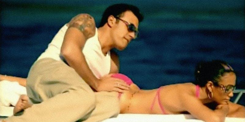 Ben Affleck and Jennifer Lopez on a boat.