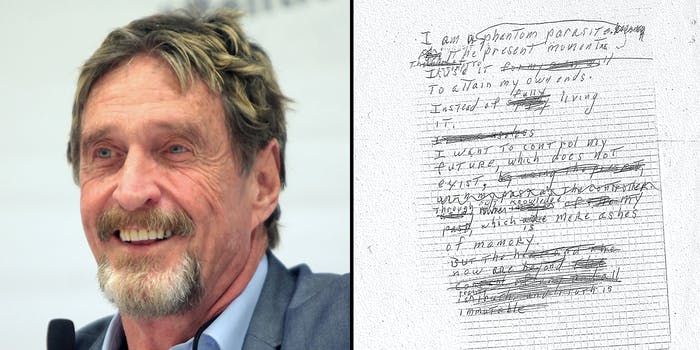 John McAfee (L) and a hand written note (R).