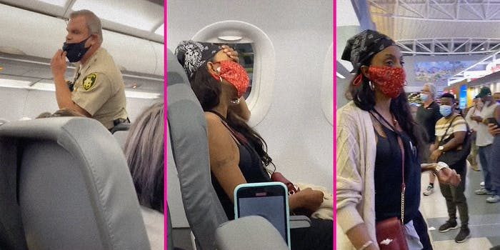 A cop on a plane (L), a woman sitting on a plane (C), and a woman in an airport (R).