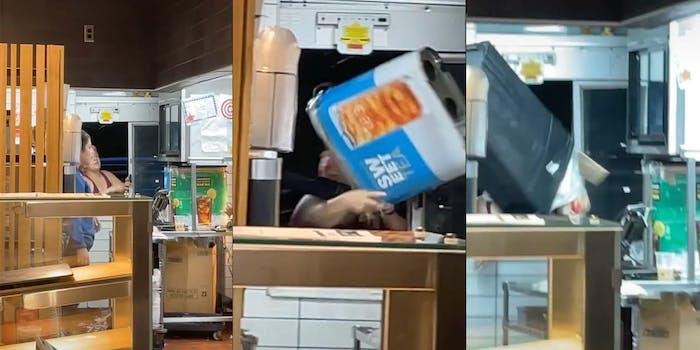 Karen throws garbage can and iced tea dispenser through the drive-through window of a McDonald's.