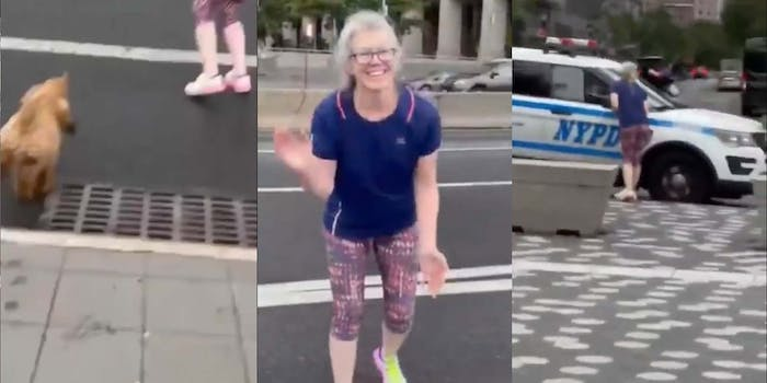 A Karen attempts to lure an unleashed dog into the street.