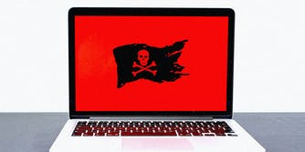 A laptop with pirate flag.