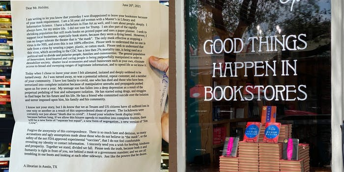 librarian letter, painted porch bookstore