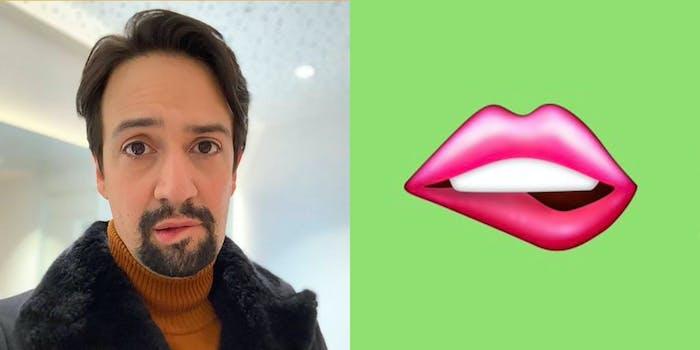 A man biting his lip (L) and a cartoon lip (R).