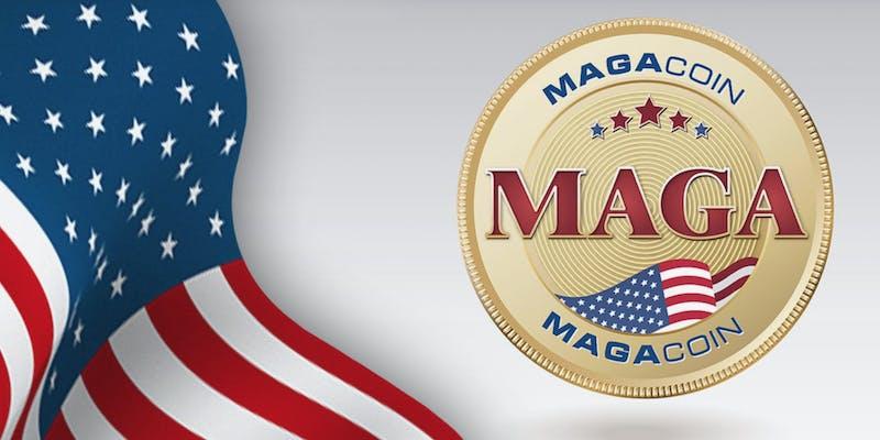 An American flag next to a gold MAGACOIN