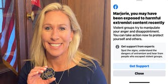 Marjorie Taylor Greene with Facebook warning about being exposed to harmful extremist content