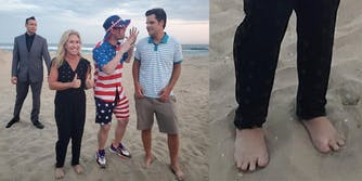 Marjorie Taylor Greene with Matt Gaetz and two other men on a beach (L) Feet in sand (R)
