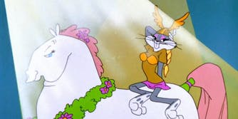 bugs bunny dressed as a valkyrie and riding a fat horse