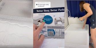 plastic mattress panels, olympic village mattress instructions, olympian testing the pads
