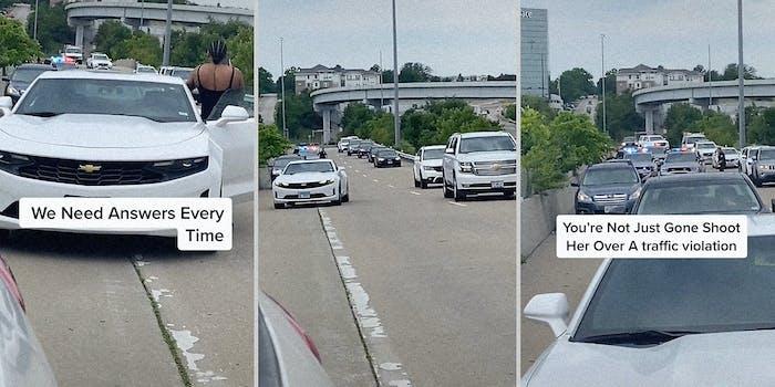 Cars on a freeway.