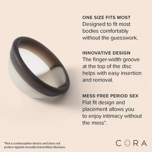 Cora disc on a peachy background with text around it describing the design