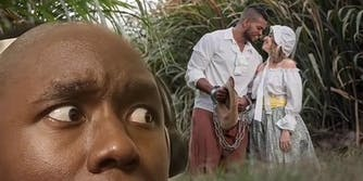man reacting to photo of couple dressed as slave and plantation owner