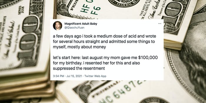 stacks of $100 bills with tweet overlaid
