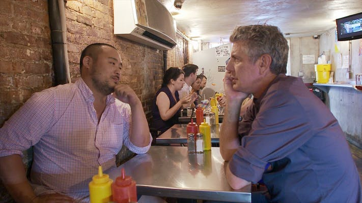 david chang (left) and anthony bourdain