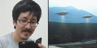 A man (L) and fake UFOs (R).