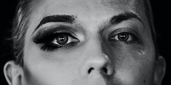 A close up for eyes with makeup.