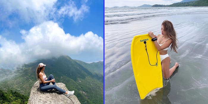A woman on a mountain (L) and a woman on the beach (R).