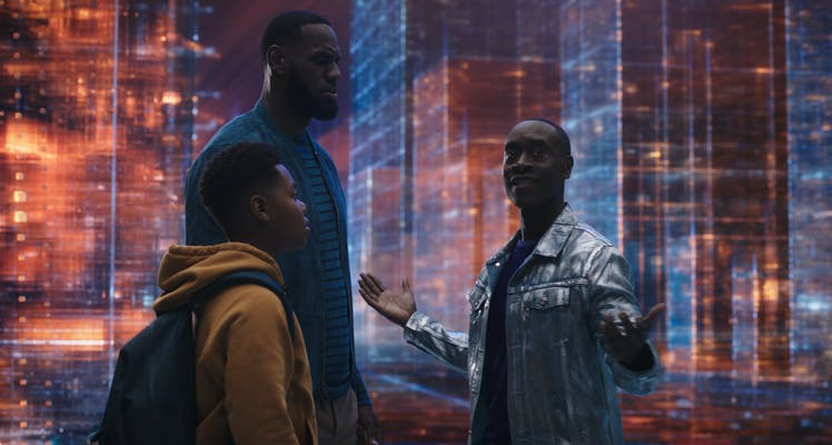 cedric joe, lebron james, and don cheadle in space jam a new legacy