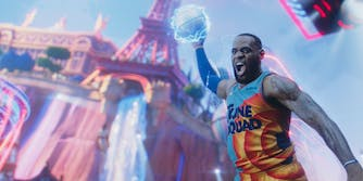 lebron james dunking in space jam a new legacy
