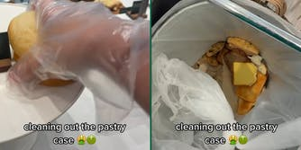 """Gloved hand grabbing food item and throwing it in the trash with caption """"cleaning out the pastry case"""""""