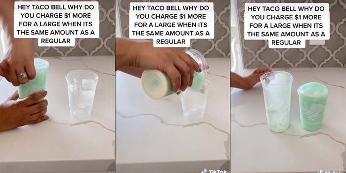 A TikTok video shows that the volumes of large and regular sized cups at Taco Bell are similar.