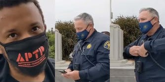 A police officer plays Taylor Swift on his phone while he is being recorded so the video will violate Youtube's copyright policy.