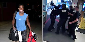 A smiling teen (L) and police removing the teenager from a hospital (R).