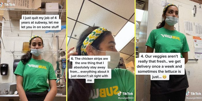 A girl standing in Subway.