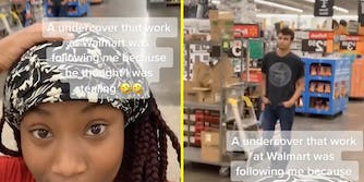 A woman looking into camera (L) and a man standing in Walmart (R).